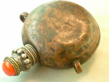 Antique Asian Copper Snuff Bottle Silver Neck Side Support Rings Brass Spoon