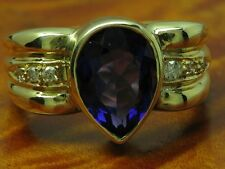 14kt 585 GOLD RING MIT DIAMANT & 3,00ct AMETHYST BESATZ / DIAMANTRING