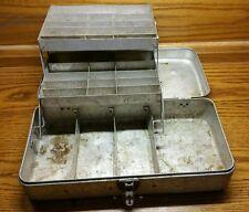 VINTAGE ANTIQUE ALUMINUM FISHING TACKLE BOX ALL ORIGINAL