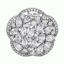 Fashion Cocktail Cubic Zirconia Ring .925 Sterling Silver Chrystal Trendy
