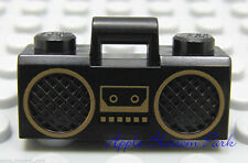 NEW Lego Minifig BLACK RADIO -Boy/Girl Minifigure Music Boombox w/Gold Trim RARE