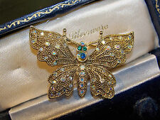 VINTAGE JEWELLERY SPARKLING RHINESTONE FLYING BUTTERFLY INSECT BROOCH SHAWL PIN