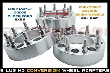 "4 Pc Chevy & GMC 8x6.5 to 8x180 Wheel Adapters Spacers 1.5"" Thick 14x1.5 Studs"