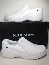 Nurse Mates Women's Size 9.5 Wide Dove White Occupational Slip On Shoes ZE-1661