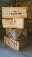 Vintage Collectable Swifts Bovril Silver Arrow Corned Beef Wooden Box