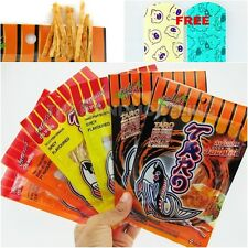 6PCS THAI TARO FISH SNACK FOOD SPICY HOT CHILLI BBQ STEAK NO FAT HEALTHY PARTY