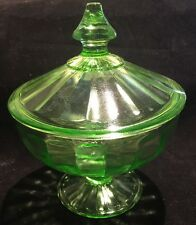 Depression Green Glass Candy Dish with Lid, Glows UV Light