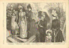 Victorian, Ladies Fashion, Parasols, Fans, Vintage, 1889 Antique Art, Print,