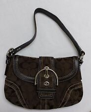 "Women's Coach Signature ""C"" Dark Brown Shoulder Purse-Size S #E06Q-10296-EUC"