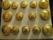 14P Db  Helmet and Mallets Coat Shank BLAZER BUTTONS SET 24/32   Gold