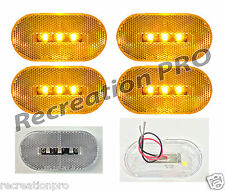 "4 NEW 4""x2"" OBLONG CLEAR/AMBER LED SURFACE MOUNT CLEARANCE MARKER LIGHTS 14303CA"