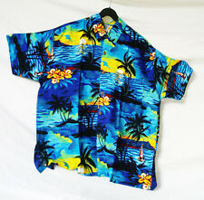 "LOUD Hawaiian shirt, blue with palms & sunsets, XXL, 56"", stag night holiday new"