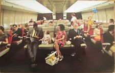 1970s Chrome Airplane Postcard: 'PanAm Boeing 747 Interior'