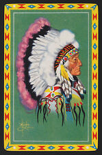 1 SINGLE VINTAGE SWAP PLAYING CARD NATIVE AMERICAN INDIAN CHIEF PIEL ART PI-5-4