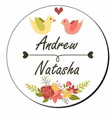 20 Personalised Floral Love Birds Wedding Stickers Favour Decorations SC0106