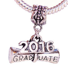 2016 Graduate Diploma Graduation Gift Dangle Bead fits European Charm Bracelets