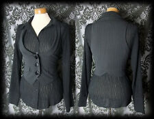Gothic Black Pinstripe Fitted POSSESSION Waistcoat Corset Jacket 8 10 Victorian