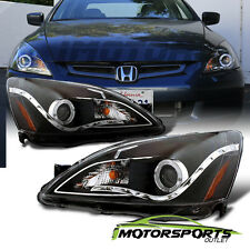[LED Halo] 2003 2004 2005 2006 2007 Honda Accord Black Projector Headlights Pair