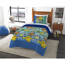 4pc Pokemon Twin/Single COMFORTER+SHEETS Set Pikachu Go Figure Bed in a Bag Room