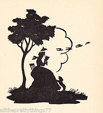 SILHOUETTE from SONNETS of Portuguese LOVE POEM Woman w DOG 1937  MATTED Picture