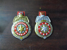 Lot of 2 Vintage 1940s Tin Children Official Sheriff Fire Dept Clicker Badges