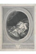 Mouchet - Liegende mit Hund , Erotika , 18.Jahrh.