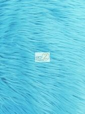 SOLID GRIZZLY SHAGGY FAKE FUR FABRIC - Turquoise - BY YARD COAT COSTUME SCARF