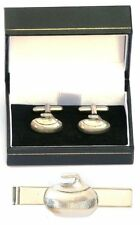 Curling Stone Cufflinks & Tie Clip Bar Tack Slide Set Mens Player Curler Gift