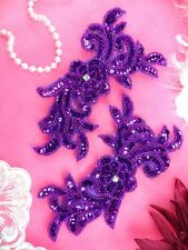 JB259 Sequin Appliques Purple MIRROR PAIR Floral Beaded Dance Patch 7""