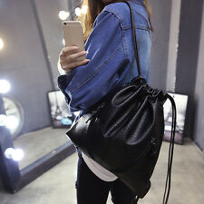 Drawstring Bucket Bag Retro Leather Backpack Outdoor Travel Sackpack Gym Bags
