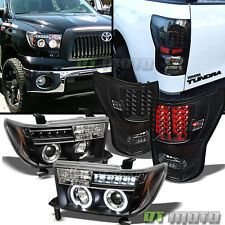 Blk 2007-2013 Toyota Tundra LED Halo Projector Headlights+LED Tail Lights Lamps