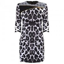 VERSACE VERSUS SZ UK10 IT42 US6 BLACK WHITE LEOPARD PRINT SAFETY PIN DRESS