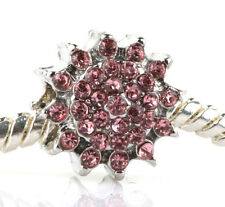 HOT Pink sunflower CZ Charm Beads Fit European Bracelet Necklace Chain B#54
