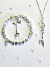 PERSONALISED JEWELLERY SET GYMNASTIC CHARM BRACELET &NECKLACE BIRTHDAY GIFT BAG