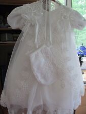 CHRISTENING ~ BAPTISMAL GOWN ~ WHITE SATIN WITH ORGANZA CAPE ~  SIZE1