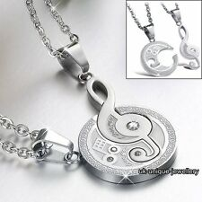Gift For Her & Him - New Silver Music Note Pendant Necklace Xmas Jewellery Women