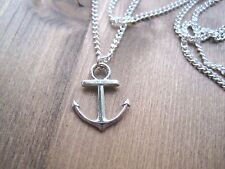 NAUTICAL SILVER ANCHOR CHARM Necklace SILVER Plated 18 INCH CHAIN GIFT Sailing