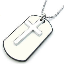 MENDINO Men's Alloy Enamel Pendant Chain Necklace Cross Dog Tag Army Style White