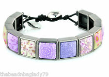 NEW JILZARA Inlay Clay Beads LAVENDER PURPLE PLUM Square Wrap Bracelet