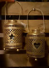 2 x Gold Metal Candle Tealight Holders Lantern NEW Star & Heart Outdoor gliter