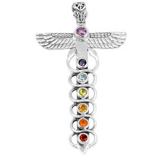 Caduceus Chakra 925 Sterling Silver Pendant Jewelry AAACP196