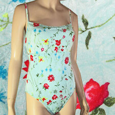 ATHENA COLLECTION Designer Swimsuit NEW Posies on Aqua SEXY BACK Buit-in Bra 16
