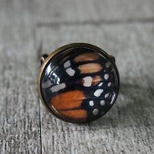Butterfly Wing Vintage Brass Filigree Adjustable Glass Dome Statement Ring