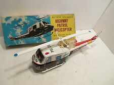 "HIGHWAY PATROL HELICOPTER LARGE 14"" LONG VG COND BATTERY OP WITH BOX WORKS GOOD"
