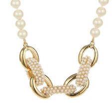 CAROLEE 'Casablanca' Cachet Chain Linked Frontal Glass Pearl Necklace $125