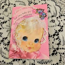 Vintage Greeting Card Mini Baby Announcement Pink Hat