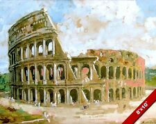 COLOSSEUM OF ANCIENT ROME ITALY WATERCOLOR PAINTING ROMAN ART REAL CANVAS PRINT