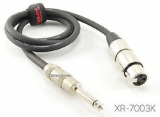 "3ft. Kirlin XLR 3-Pin Female / 1/4"" Mono Male Shielded OFC Microphone Cable"