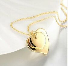 18k GOLD PLATED DOUBLE HEART PENDANT NECKLACE