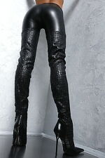 Unique Leather Stretch Made in Italy Long Overknee High Heels Boots G64 Stiefel